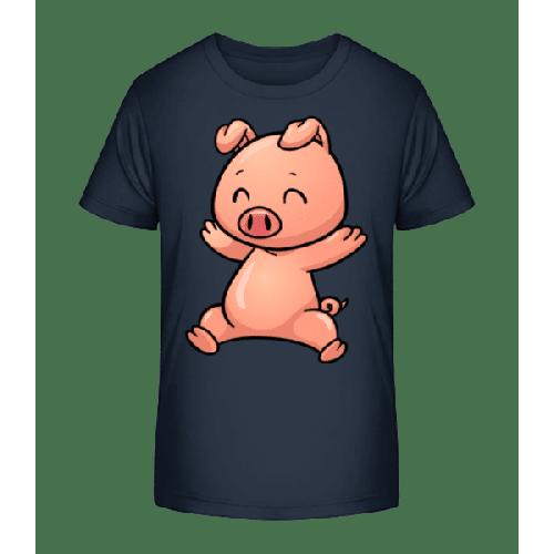 Schweinchen Springend Comic - Kinder Premium Bio T-Shirt