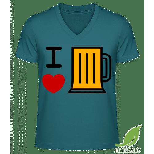 Ich Liebe Bier - Männer Bio V-Neck T-Shirt