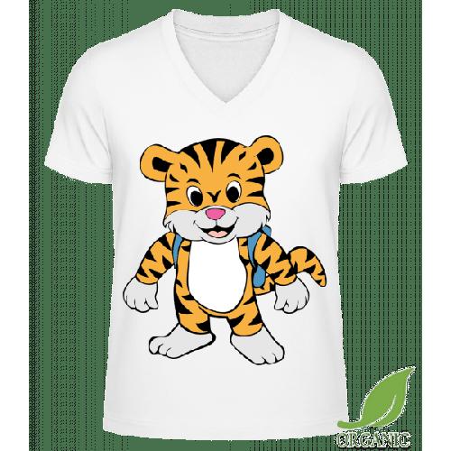 Süßer Tiger mit Rucksack - Männer Bio V-Neck T-Shirt