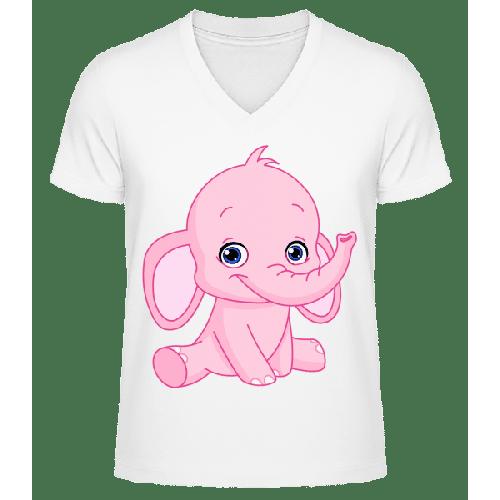 Elefant Comic - Männer Bio T-Shirt V-Ausschnitt