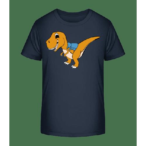 Süßer Dinosaurier mit Rucksack - Kinder Premium Bio T-Shirt