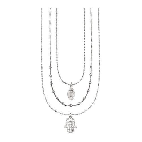 3rhg. Halsketten-Set KLiNGEL Silberfarben