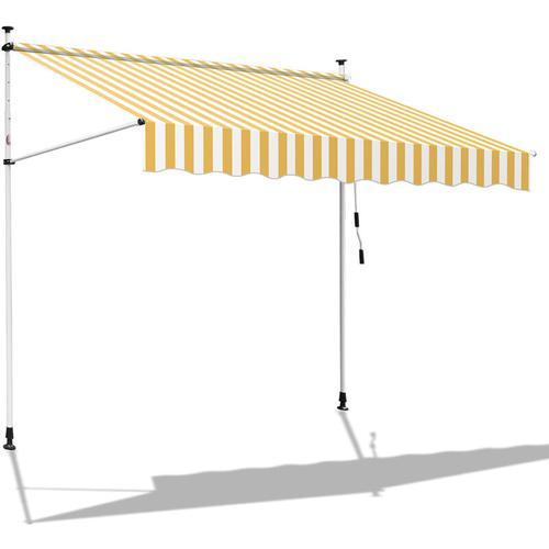 Hengda 350 x 120 cm Markise Einziehbar Klemmmarkise Balkonmarkise Sonnenschutz ohne Bohren