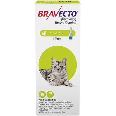 Bravecto Spot On For Small Cats 2.6 - 6.2 Lbs (Green) 1 Pack -