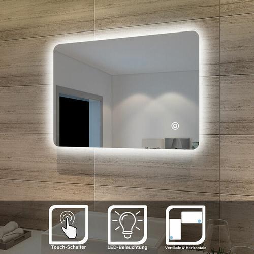 Badspiegel Lichtspiegel LED Spiegel Wandspiegel mit Touch-Schalter 70 x 50cm kaltweiß IP44