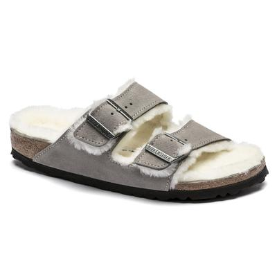 BIRKENSTOCK Arizona Shearling Suede Leather Stone Coin Two-Strap Sandals