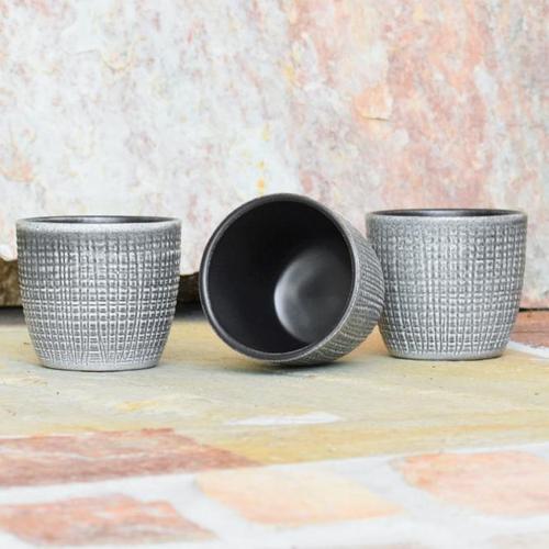 3er-Set Keramik-Übertöpfe 6cm, Grau
