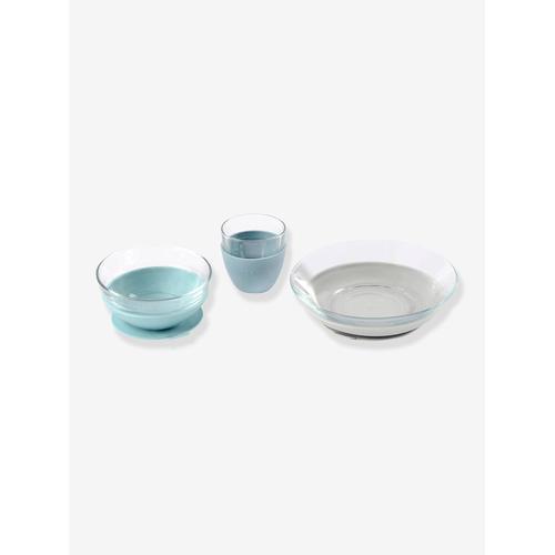 Baby Esslern-Geschirr aus Glas BEABA® blau