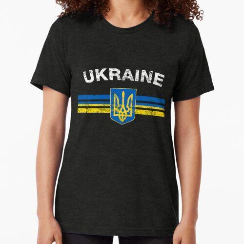 Ukrainian Flag Shirt - Ukrainian Emblem & Ukraine Flag Shirt Tri-blend T-Shirt