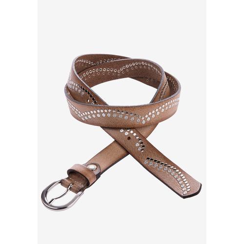 Cipo & Baxx Ledergürtel, mit schönem Nietenbesatz braun Damen Ledergürtel Gürtel Accessoires