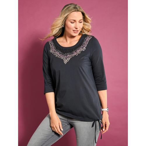 MIAMODA Paillettenshirt, mit Pailletten am Ausschnitt grau Damen Jersey Shirts Sweatshirts Paillettenshirt