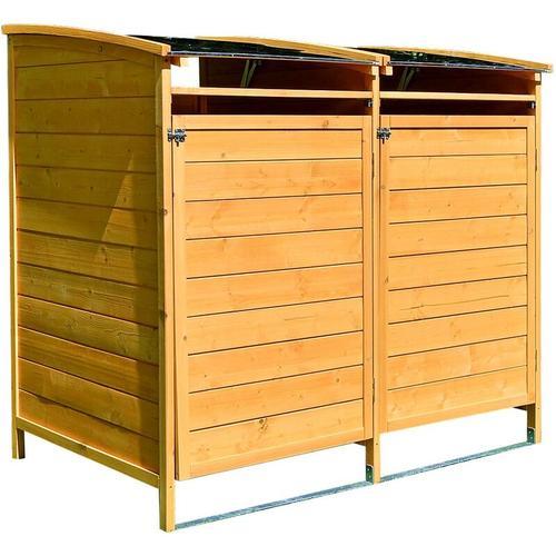 Mülltonnenbox braun Doppelbox Mülltonnenverkleidung Mülltonne 240L Mülltonnenhaus Gartenbox