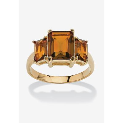 Yellow Gold-Plated Simulated Emerald Cut Birthstone Ring by PalmBeach Jewelry in November (Size 10)
