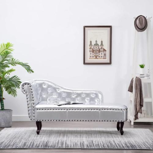 Recamiere Chaiselongue Chesterfield silber VD30956