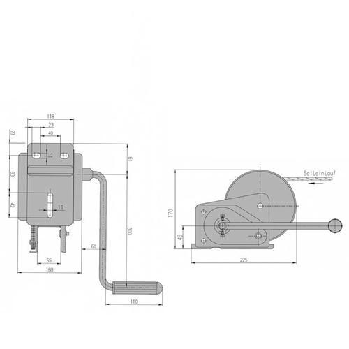 Al-ko Seilwinde Bootstrailer Basic Typ 900-a Gebremst 900kg Mit 7 M Gurtband Al-ko: 122.53.03