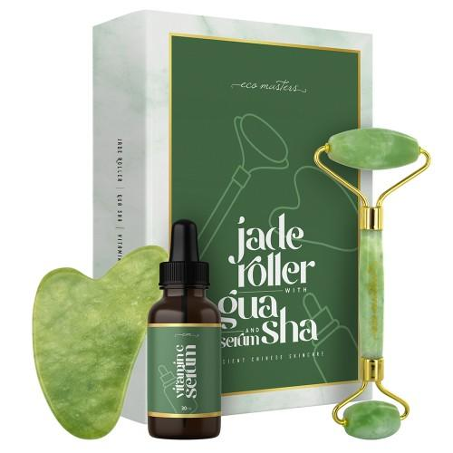 Eco Masters Jaderoller mit Gua Sha & Serum - Anti Aging Produkte für das Gesicht