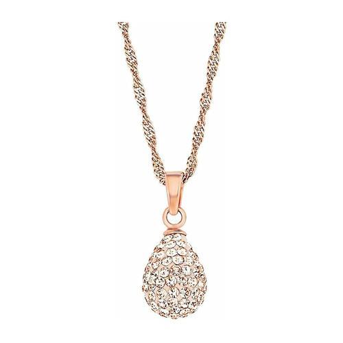 Kette mit Anhänger für Damen, Sterling Silber 925, Kristallglas Tropfen amor Apricot