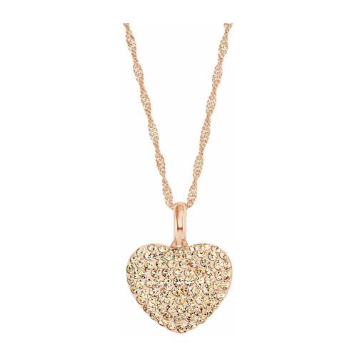 Kette mit Anhänger für Damen, Sterling Silber 925, Kristallglas Herz amor Rosefarben
