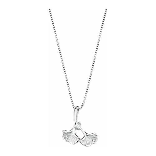 Kette mit Anhänger für Damen, Sterling Silber 925, Ginkgoblatt amor Silber