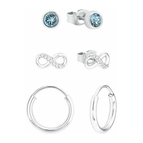 Set für Damen, Sterling Silber 925, Kristallglas Infinity amor Silber