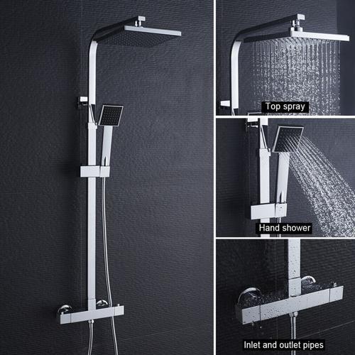 Duschset Regendusche Duschsystem mit Thermostat Regenduschset Duschsäule Duschgarnitur Set, Chrom