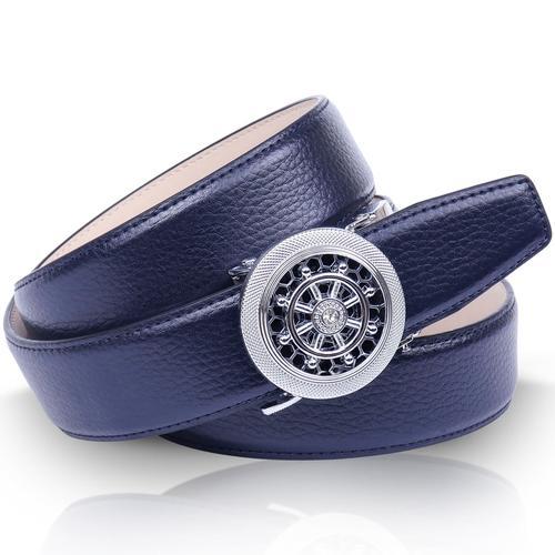 Anthoni Crown Ledergürtel, Leicht bombiert, mit Metallic-Finish blau Damen Ledergürtel Gürtel Accessoires