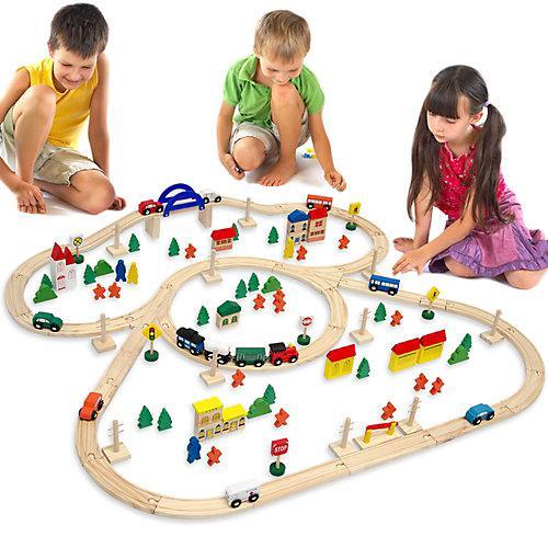 Holzeisenbahn Set 130 Teile mit Zubehör mehrfarbig