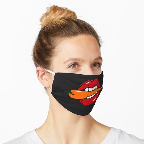Rote Lippen beißen Jalapeno Pfeffer Lippenstift lustige Frauen Maske