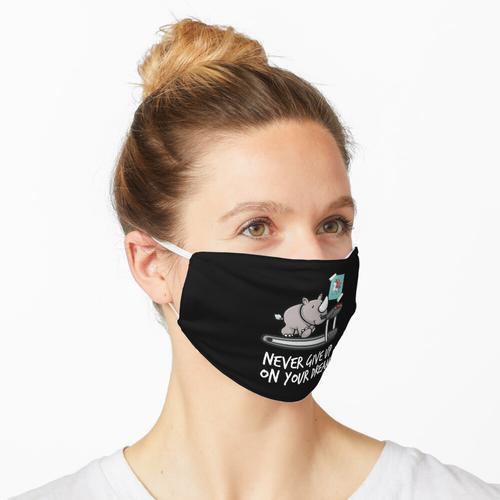 Gib nie deine Träume auf - Nashorn auf Laufband wie Einhorn Maske