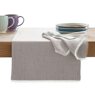 French Perle Solid Color Table Runner 14 x 90, 14 x 90, Gray
