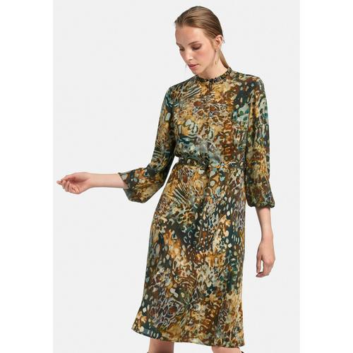 Uta Raasch Abendkleid Kleid mit Stehkragen, und Gürtel bunt Damen Freizeitkleider Kleider