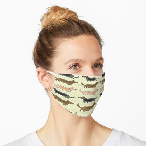 Langhaarige Dackel für einen Trab Maske