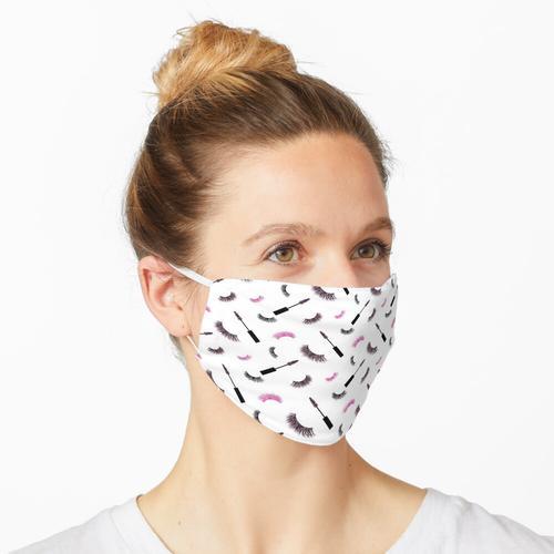 Wimpern und Mascara mit rosa Glitzermuster Maske