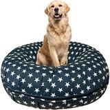 Bessie + Barnie Star Banner Bagel Pillow Dog Bed w/Removable Cover, Small