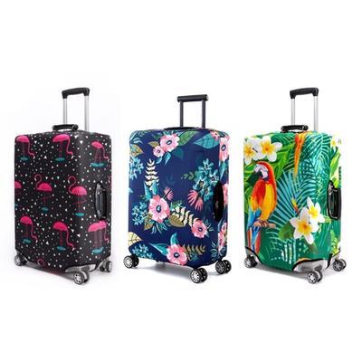 Housse de valise Periea : Vert et flamants roses / 55-60 cm