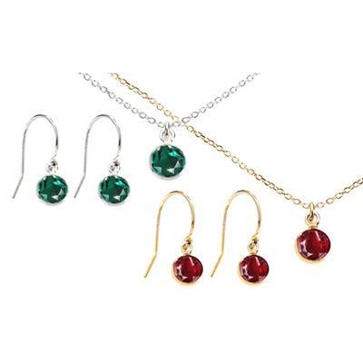 Parures en argent cristaux Swarovski® : Collier / Émeraude / Argent