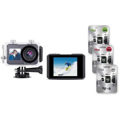 Caméra d action 4K : Avec accessoires + carte SD de 32 Go (52558)