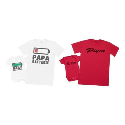 2 T-Shirts für Vater und Baby: Baby Voll Batterie - Papa Batterie /2XL / 3-6 Monate