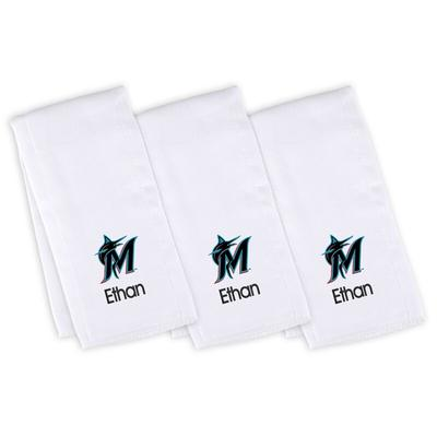 """""""Miami Marlins Infant White Personalized Burp Cloth 3-Pack"""""""
