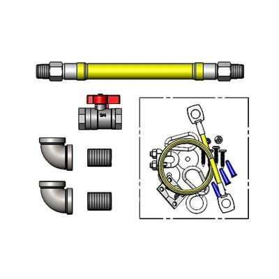 "T&S HG-4F-48SK-FF 48"" SwiveLink Gas Hose w/ Quick Disconnect & Cable Kit - 1 1/4"" NPT"