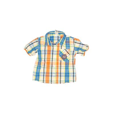 Children's Apparel Network Short Sleeve Button Down Shirt: Orange Plaid Tops - Size 3Toddler