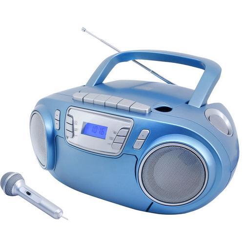CD-Boombox mit Discolicht + Mikrofon, blau