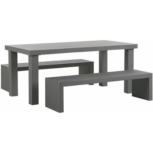 Gartenmöbel Set aus Beton mit großem Tisch und 2 Sitzbänken in U-Form Modern Industriell Stil