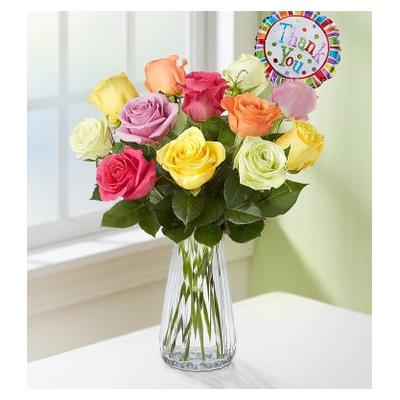 Thank You Assorted Roses, 12 Stems with Clear Vase by 1-800 Flowers