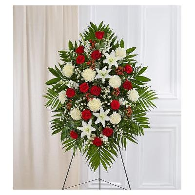 Red & White Sympathy Standing Spray Small by 1-800 Flowers