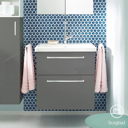 Burgbad Eqio Waschtisch mit Waschtischunterschrank B: 63 H: 64,5 T: 49 cm, mit 2 Auszügen Front grau hochglanz / Korpus grau glanz, Stangengriff chrom SEYQ063F2010C0001P95