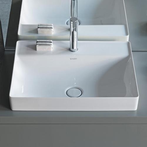Duravit DuraSquare Aufsatzwaschtisch B: 60 T: 47 cm weiß, mit WonderGliss, mit 1 Hahnloch 23546000411