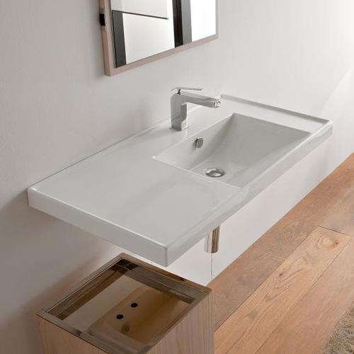 Scarabeo ML Einbau- oder Hängewaschbecken B: 92 T: 47 cm, Becken rechts weiß, mit BIO System Beschichtung 3009BK