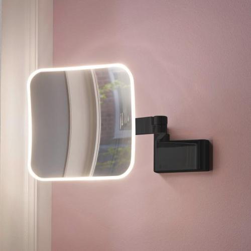 Emco Evo LED Rasier- und Kosmetikspiegel B: 209 H: 209 mm, mit Direktanschluss schwarz 109513350, EEK: A+