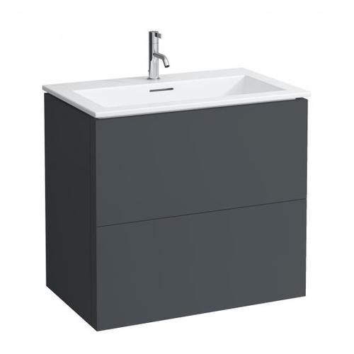 Kartell by Laufen Waschtisch mit Waschtischunterschrank B: 80 H: 72,5 T: 50 cm, 2 Auszügen Front schiefer / Korpus schiefer H8603356421041